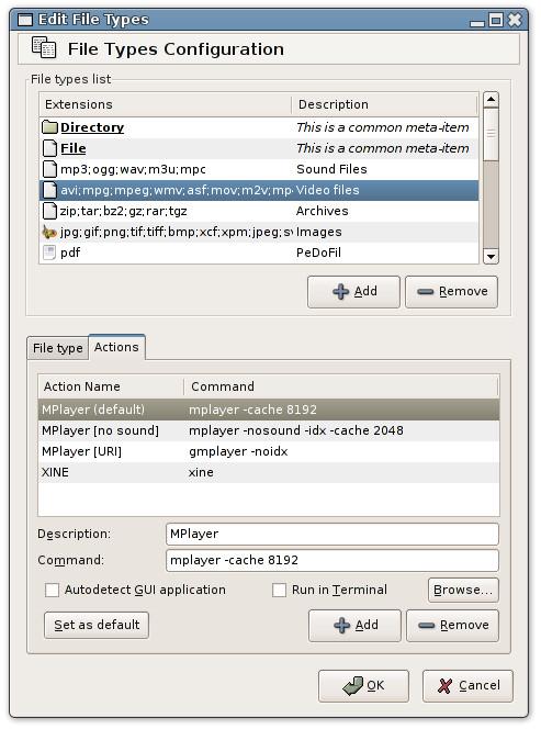 Tux Commander - Konfiguracja typów plików