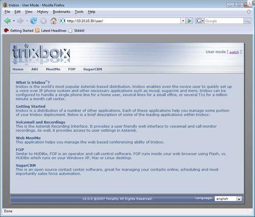 trixbox - Panel Użytkownika