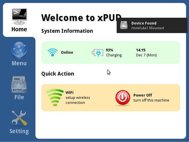 xPUD 0.9.2 - Główne okno