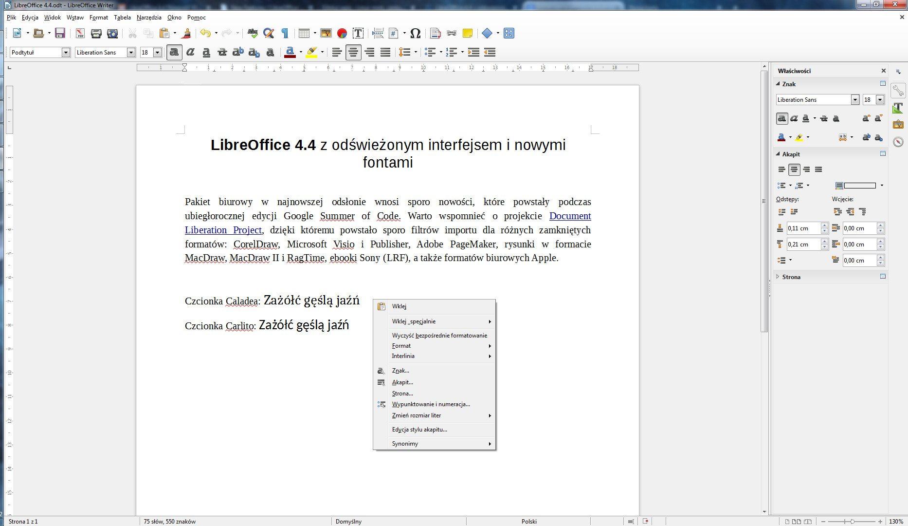 LibreOffice 4.4 - wygląd