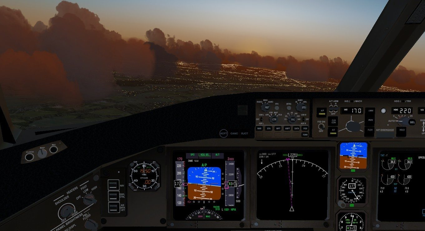 FlightGear 3.4 - pulpit i widok scenerii