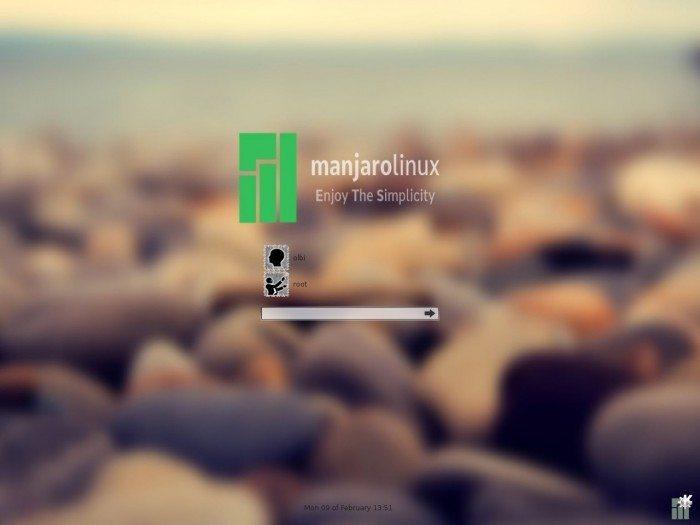 Manjaro 0.8.12 - logowanie