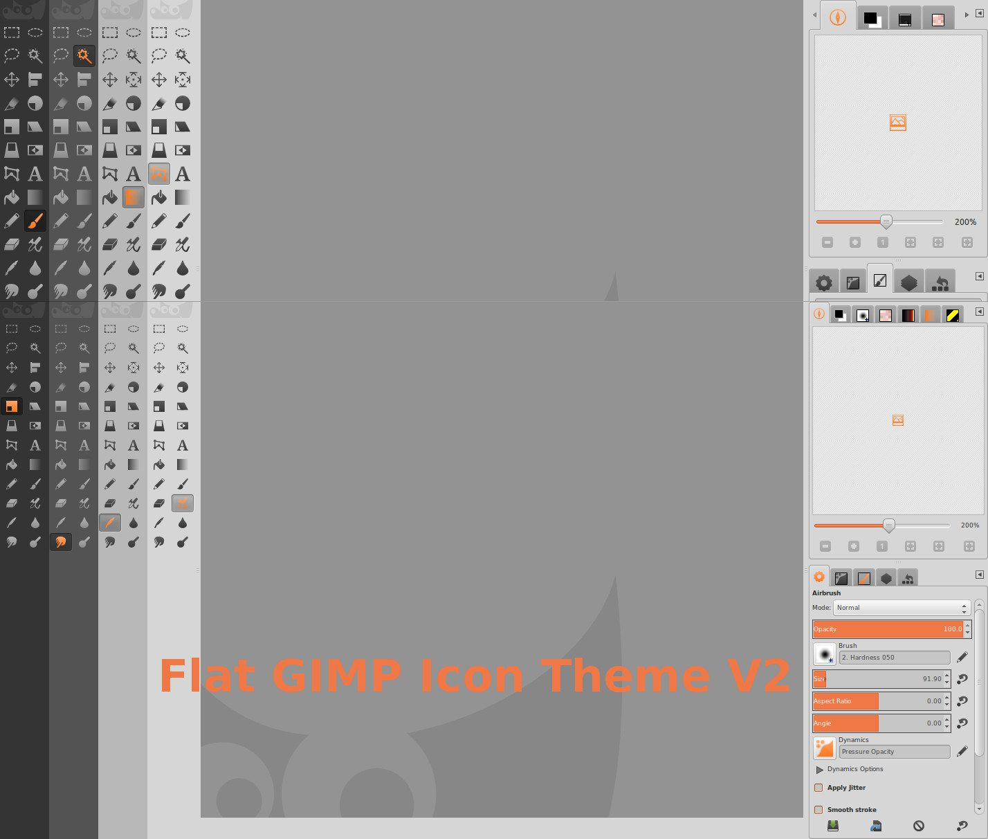 Flat GIMP - wygląd wszystkich styli