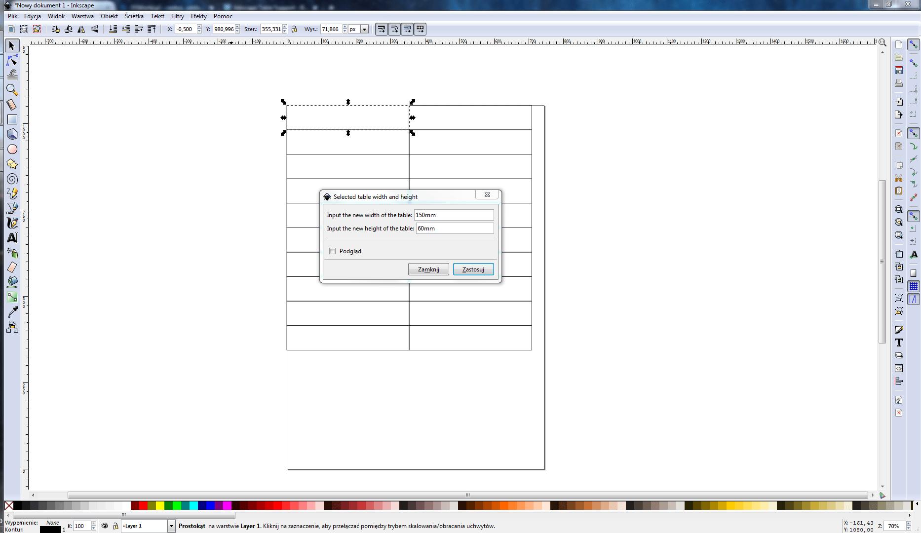 Inkscape Table Support - tworzenie tabeli