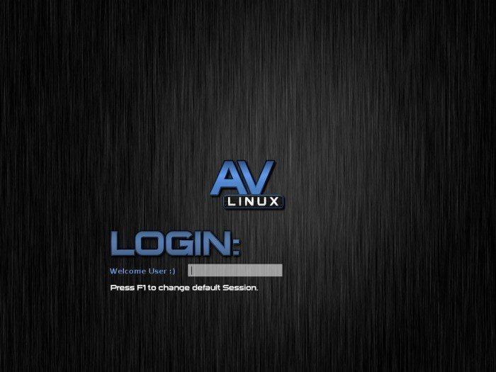 AV Linux 6.0.2 - logowanie