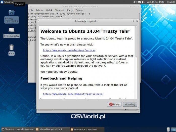 Aktualizacja Xubuntu 12.04 LTS do Xubuntu 14.04 LTS - informacje o wydaniu