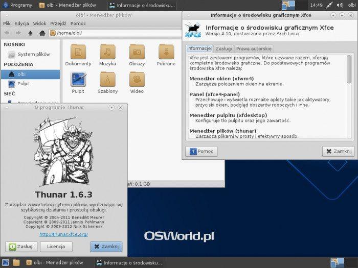 Antergos 2013.05.12 - Thunar i Xfce