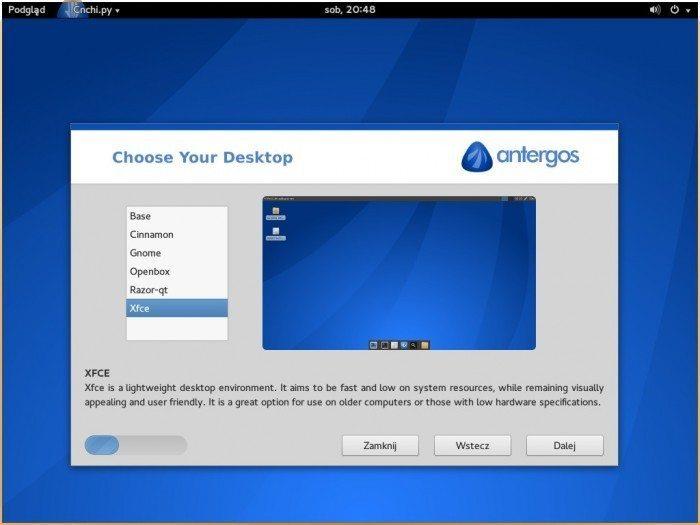 Antergos 2013.11.17 - wybór środowiska graficznego