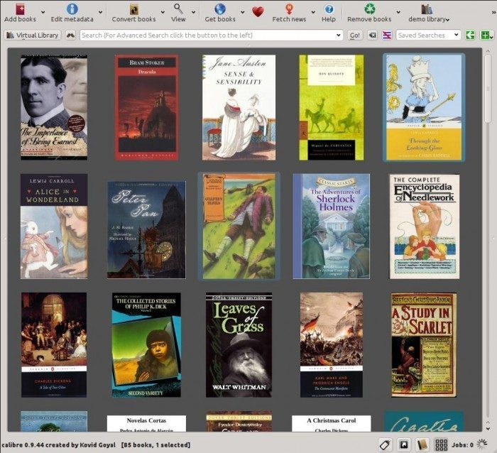 Calibre 1.0 - kafelkowy podgląd okładek książek
