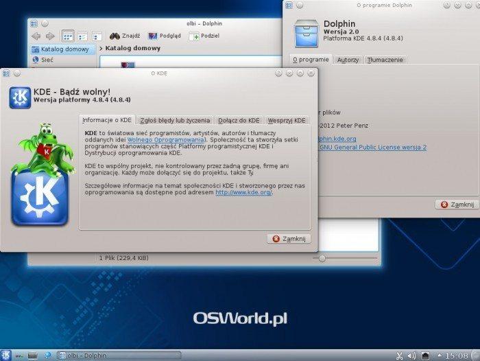 Debian 7.0 KDE SC 4.8 - wersja KDE SC i Dolphina