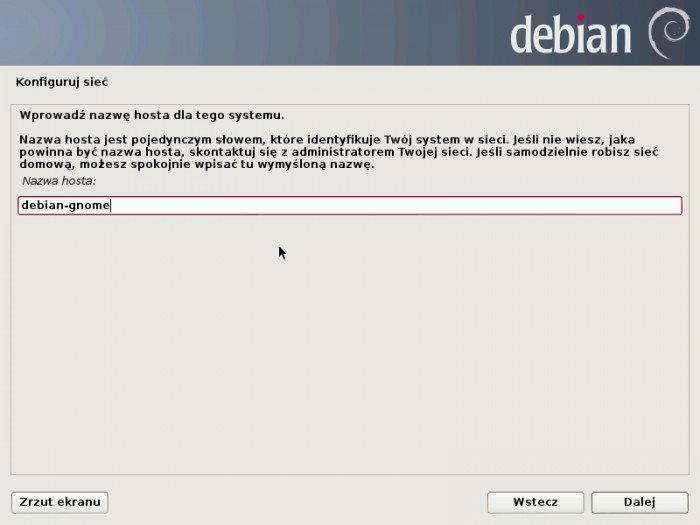 Debian 7.0 Wheezy - instalator - nazwa komputera