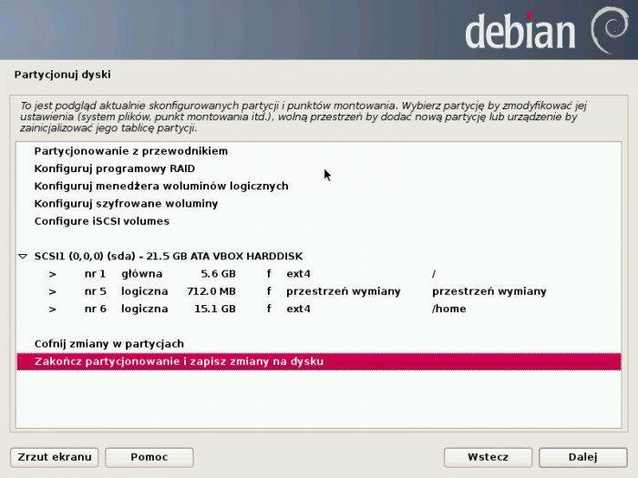 Debian 7.0 Wheezy - instalator - zatwierdzenie partycji