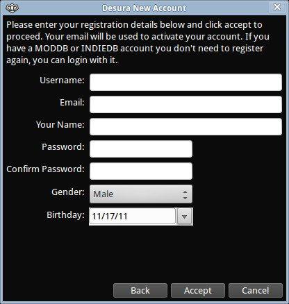 Desura - rejestracja