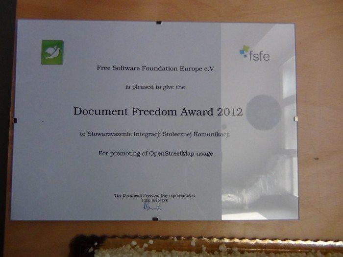 Document Freedom Day 2012 - certyfikat Stowarzyszenie Integracji Stołecznej Komunikacji
