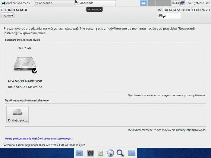 Fedora 20 Xfce - Anaconda - Cel instalacji