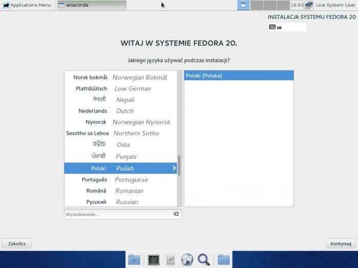 Fedora 20 Xfce - Anaconda - instalacja