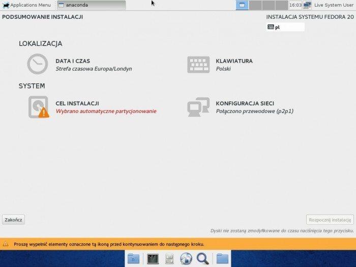 Fedora 20 Xfce - Anaconda - podsumowanie instalacji