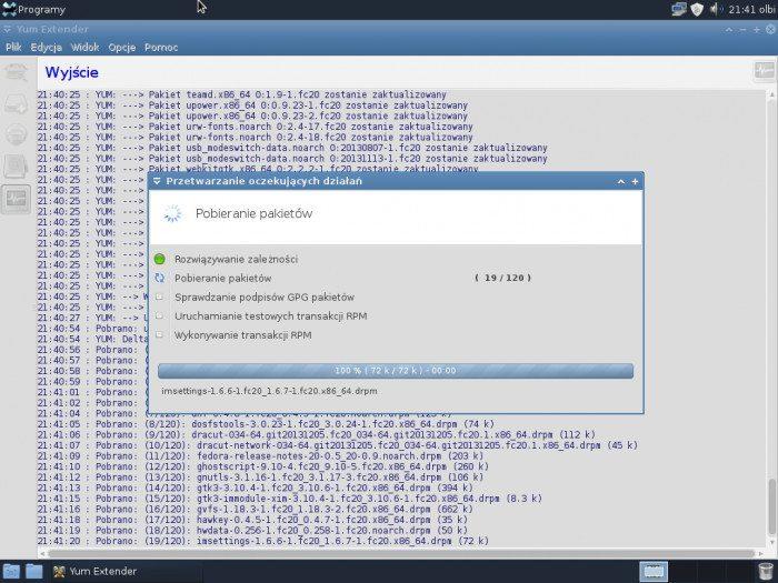 Fedora 20 Xfce - Yum Extender - instalacja