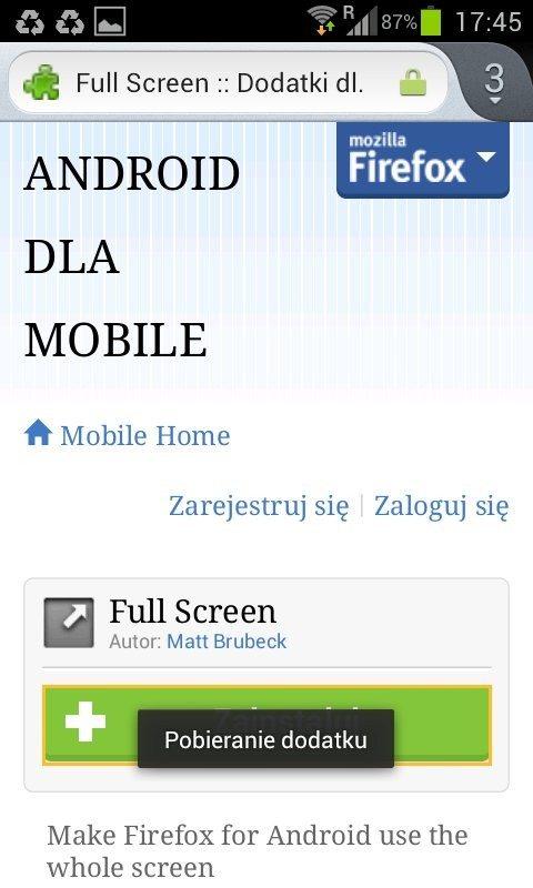 Firefox 14 dla Androida - dodatki