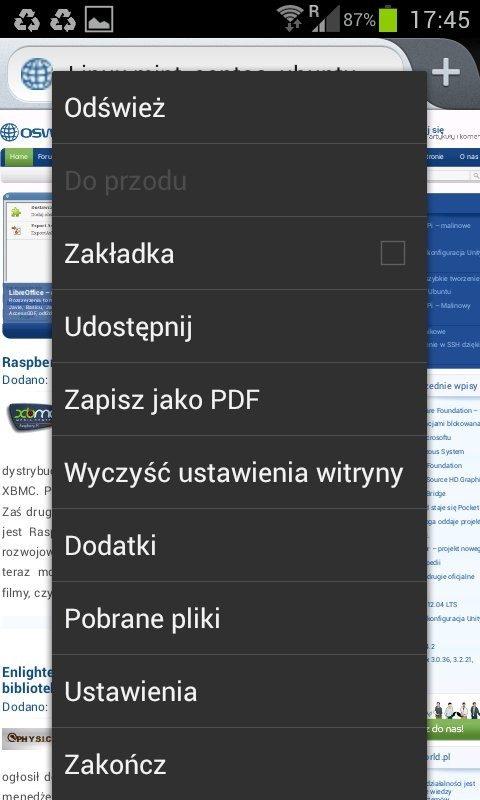 Firefox 14 dla Androida - opcje