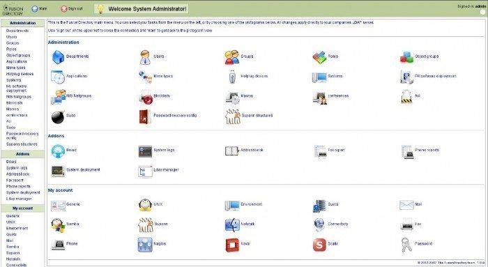 FusionDirectory - menu główne
