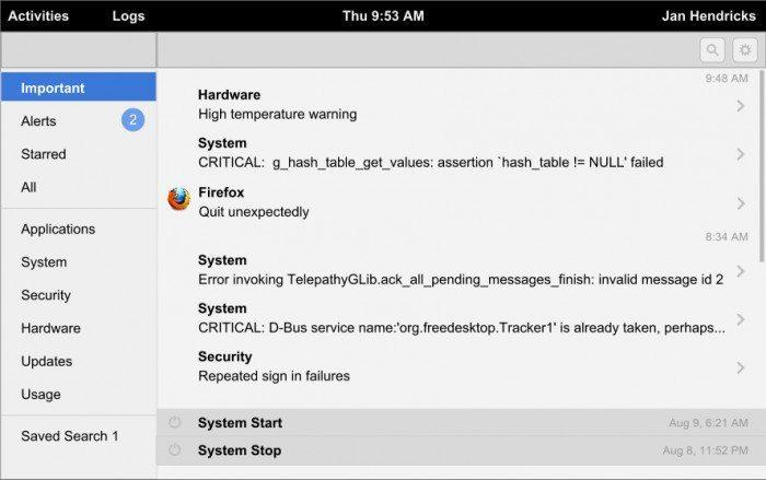 GNOME Logs 0.1 - opis błędu