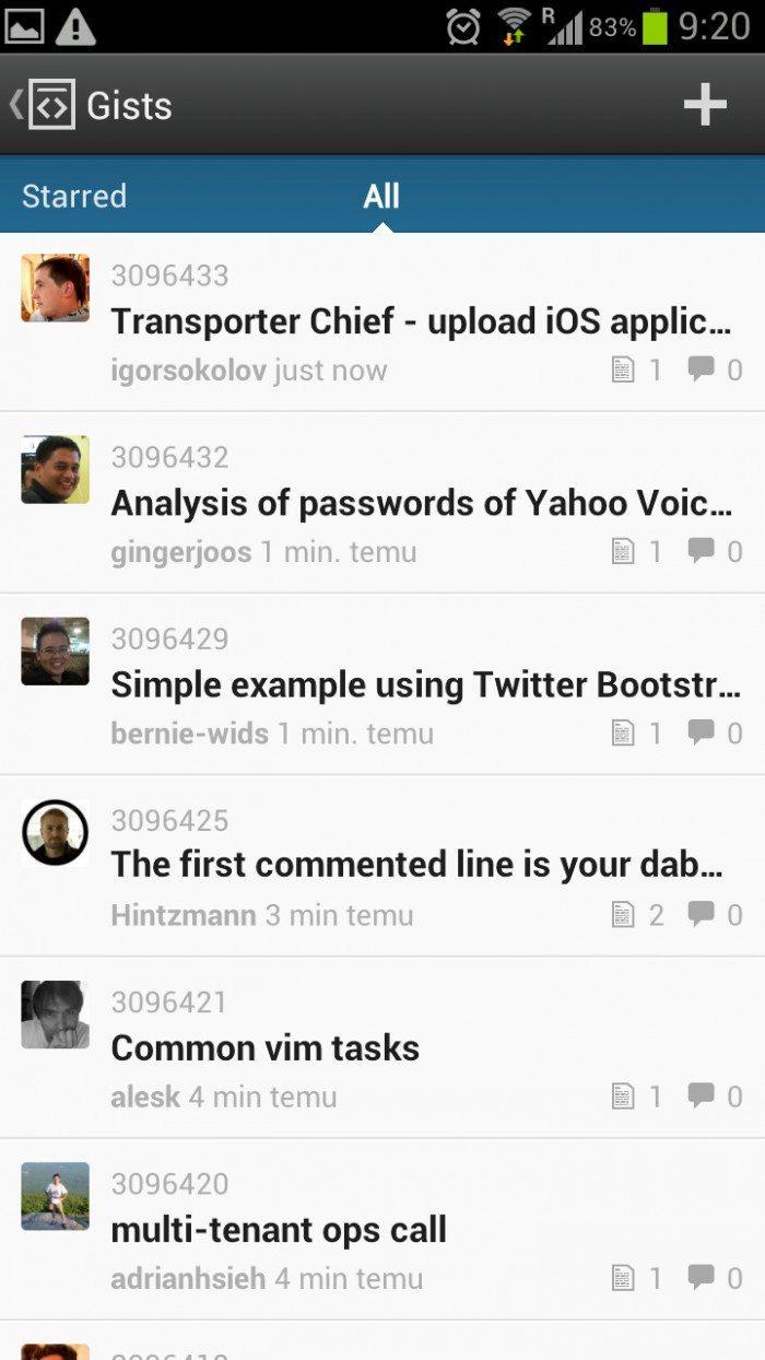 GitHub Android App - Gists