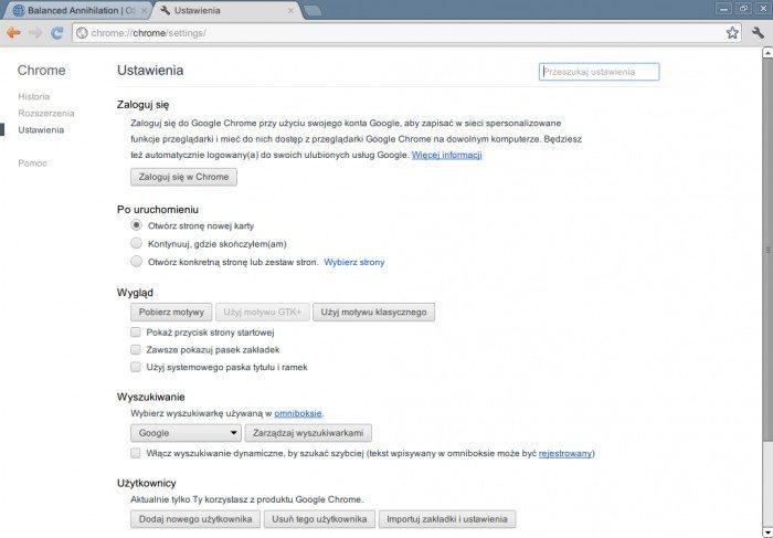 Google Chrome 19 - ustawienia