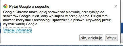 Google Chrome - sugestie