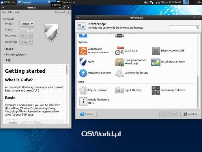 Gufw 13.10 - menu systemowe i okno główne