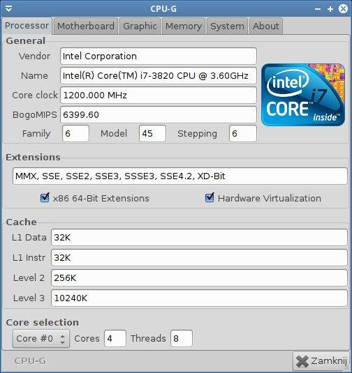 Intel Core i7-3820 - testy pod Ubuntu 11.10 - procesor