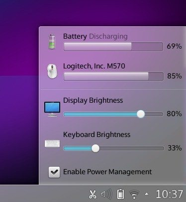 KDE SC 4.11 - aplet baterii