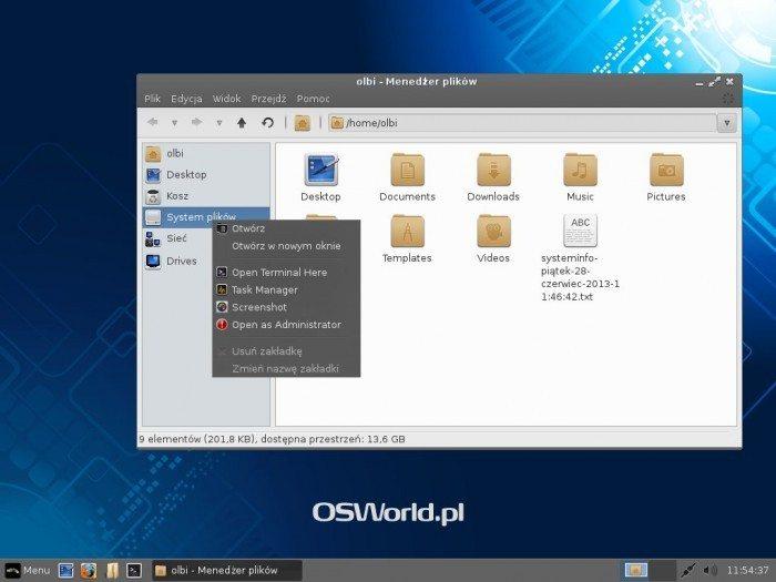 Linux Lite 1.0.6 - menu Otwórz jako administrator