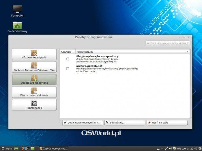 Linux Mint 15 Olivia - Zasoby oprogramowania - dodatkowe repozytoria