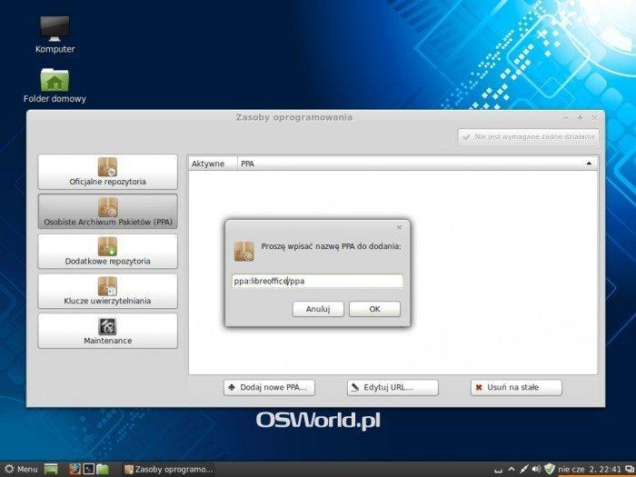 Linux Mint 15 Olivia - Zasoby oprogramowania - dodawanie PPA