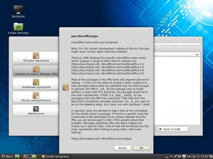 Linux Mint 15 Olivia - Zasoby oprogramowania - info o PPA