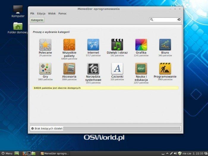 Linux Mint 15 Olivia - menedżer oprogramowania