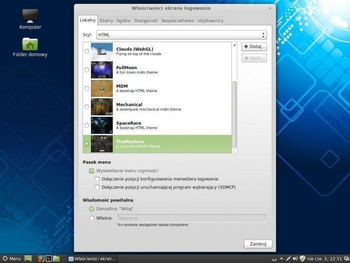 Linux Mint 15 Olivia - właściwości ekranu logowania