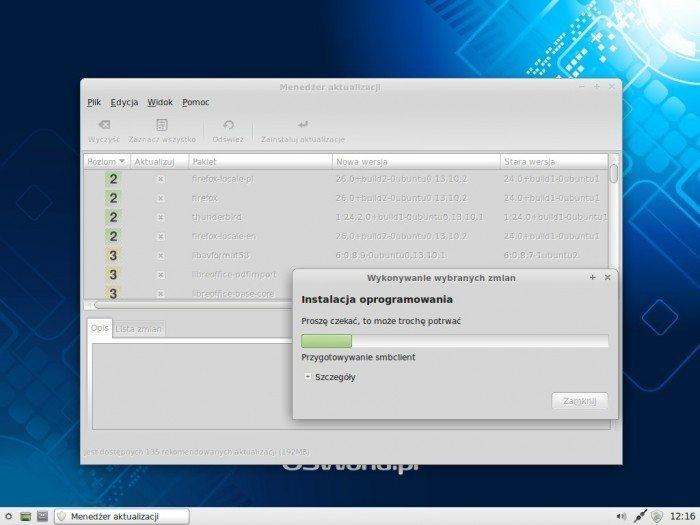 Linux Mint 16 Xfce - aktualizacja