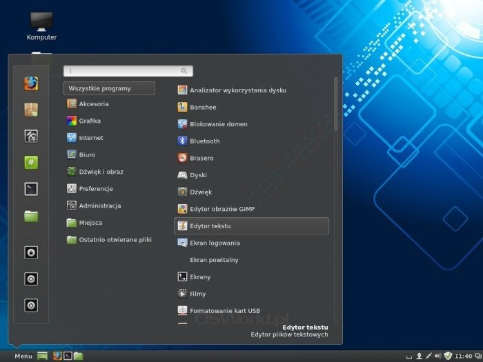 Linux Mint 16 - menu główne