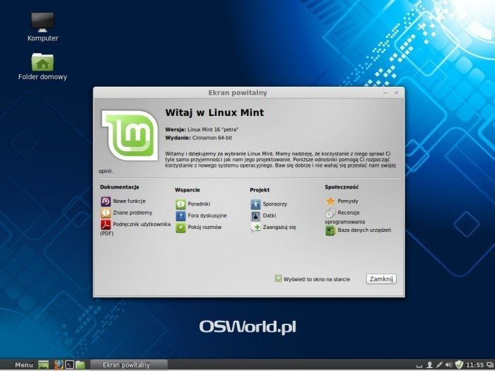 Linux Mint 16 - okno powitalne