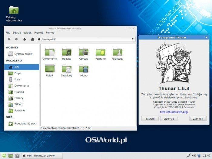 Linux Mint 17 Xfce - menedżer plików