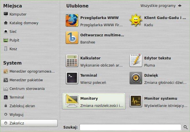 Linux Mint MATE - menu główne - widok podstawowy
