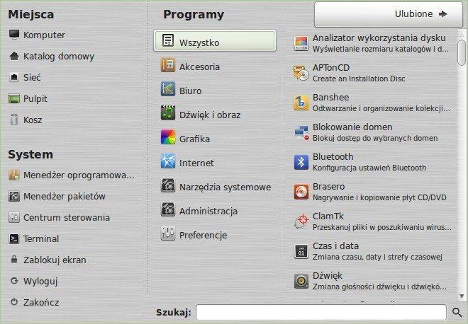 Linux Mint MATE - menu główne - wszystkie programy