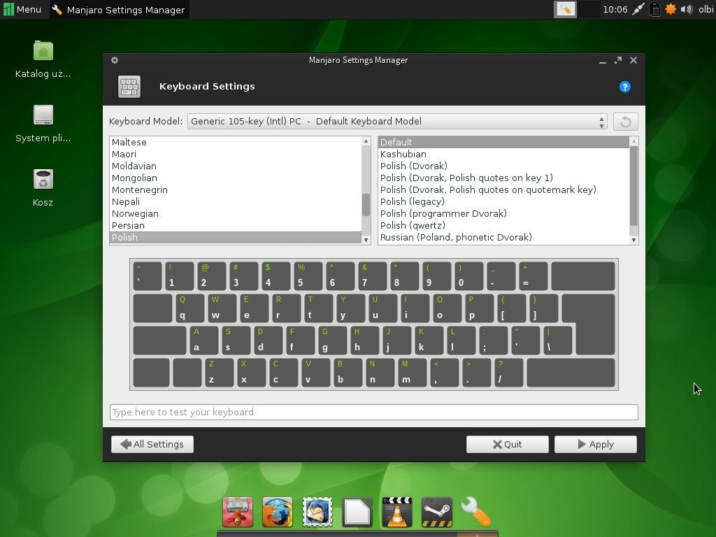 Manjaro 0.8.5 - Manjaro Settings Manager - układ klawiatury