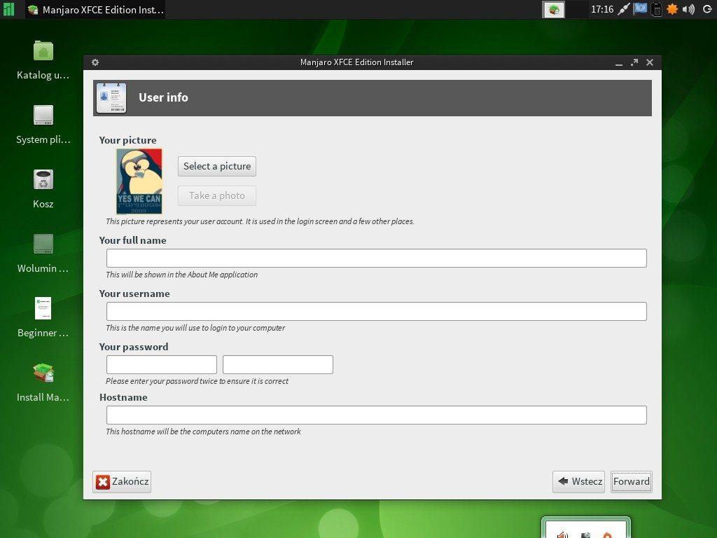Manjaro 0.8.5 - graficzny instalator - użytkownik