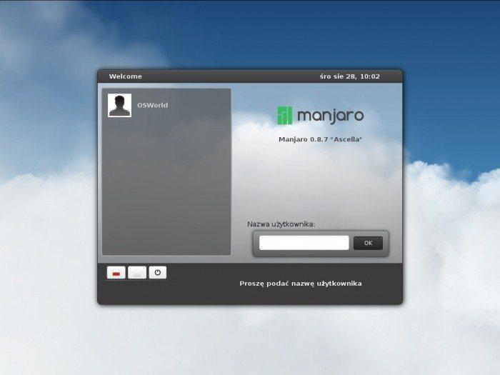 Manjaro 0.8.7 - ekran logowania