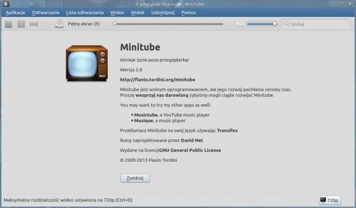 Minitube 2.0 - wersja oprogramowania
