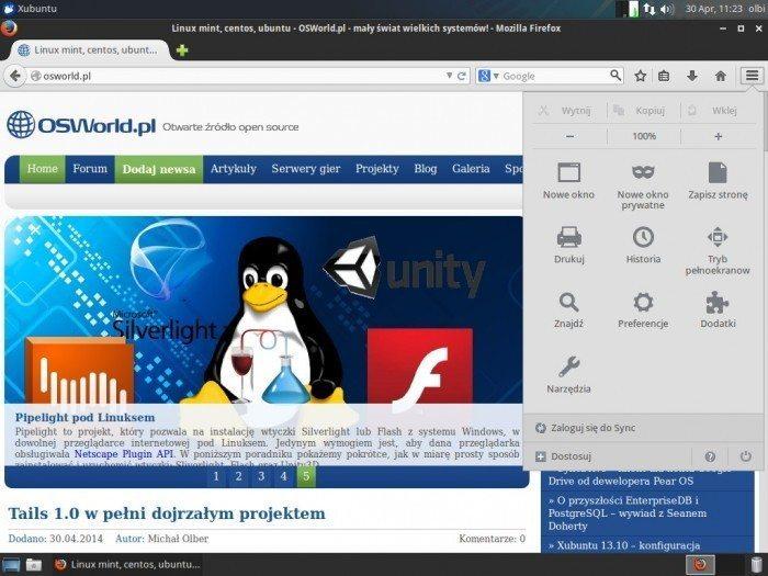 Mozilla Firefox 29.0 - nowe menu