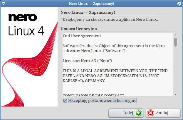 Nero Linux 4.0.0.0b - ekran powitalny